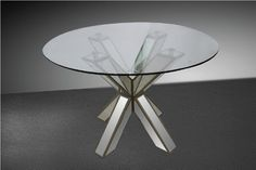 "Modrest Hancock - Transitional Mirrored Round Glass Dining Table. Dimensions  Dining Table: W47"" x H31.5""  Color:  Other Finish:   Product ID(s):  16031A"
