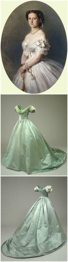 Green ball gown belonging to Queen Louise of Denmark, 1860s, collection of the National Museum of Denmark (link: http://samlinger.natmus.dk/DNT/asset/279). The accompanying portrait is of Princess Helena, the fifth child of Queen Victoria, painted by Franz Xaver Winterhalter, 1865, oil on canvas, Royal Collection Trust.