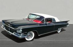 Vintage 1959 black Buick Invicta convertible with red interior