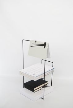 Modern Metal Magazine Holder in Black / Table / par ADesignprojects