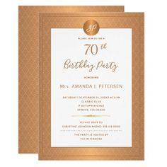 Elegant Gold Monogrammed Seventy Birthday Party Invitation Classy Birthday Party, Adult Birthday Party, 70th Birthday, Elegant Invitations, Zazzle Invitations, Invitation Kits, Birthday Party Invitations, Hand Lettering, Metallic