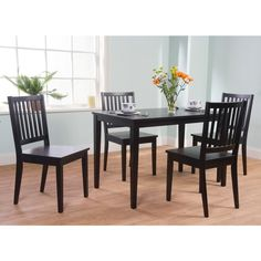 Simple Living Slat Black Rubberwood Dining Chairs (Set of 4) - Overstock™ Shopping - Great Deals on Simple Living Dining Chairs