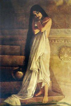 Lady Taking Bath - Raja Ravi Varma Painting Reprint
