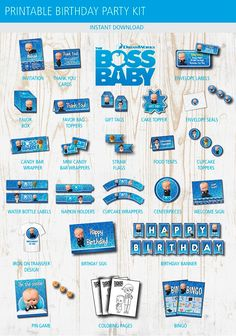 baby boy birthday party If you are planning a party for the little Boss of the house, this Boss baby birthday printable party kit includes all the essentials to decorate t Boss Birthday, Baby Boy 1st Birthday Party, Baby Party, Birthday Ideas, Party Kit, Party Ideas, Boss Baby, Party Printables, Batman Party
