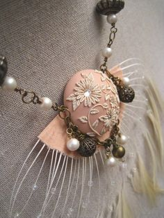 Moobie Grace  Polymer Clay Necklace  Tribal  by MoobieGraceDesigns, $40.00