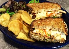 """BLUE PLATE SPECIAL 10-29-14:  """"KIMCHI REUBEN"""" - an Asian inspired Reuben.  Our house Tempeh Bacon and Sesame Ginger Mayo served on your choice of Iggy's bread and stuffed with a house-made Kimchi Slaw. Comes with Swiss, Daiya, or house vegan cheese and choice of house Potato Salad, Slaw or Potato Chips. Can be made gluten free.  #vegan #glutenfree #gf www.veggiegalaxy.com"""