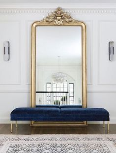 Large floor mirror with bench in front, foyer, entryway, gold