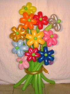 Lindas flores de globos.