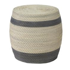 Woven rattan makes for a stool with texture and worldly character, the hand painted stripe makes it a staple you can use for years to come. EMAIL FOR AVAILABILITY. This item is backordered until early October 2017.