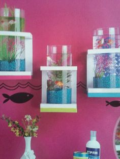 Fish wall decor :)<3 cute for a pet room!