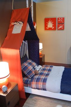 Camping room. VERY doable DIY tent 'headboard'