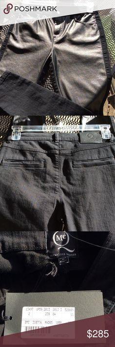 ALEXANDER MCQUEEN black denim nwt Front coated,pockets on back,newer worn Alexander McQueen Jeans Straight Leg