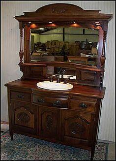 vintage bathroom sink and mirror | Antique Bathroom Vanity: Antique Walnut Hutch with Beveled Mirror Back ...