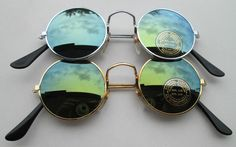 Lot of 2 Sunglasses John Lennon Style Mirror Glasses 70s  Round Hippie Retro N3