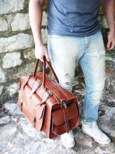 Apollo Weekender Leather Bag / Handmade / Full Grain in Tobacco or Dark Brown Color Greek Leather / Travel Duffel Bag Ropa Interior Calvin, New Bag, Duffel Bag, Travel Bag, Leather Bag, Mens Fashion, How To Wear, Dark Brown, Hand Luggage