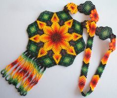 Mexican Huichol Beaded Star and Peyote Necklace by Aramara on Etsy Peyote Patterns, Beading Patterns, Collar Indio, Huichol Art, Mexican Textiles, Seed Bead Jewelry, Beaded Jewelry, Mexican Designs, Necklaces