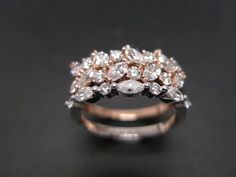 Set of TWO Marquise Diamond Engagement Ring and by honngaijewelry