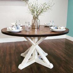 diy round farmhouse table dining room redo pinterest round farmhouse table farmhouse. Black Bedroom Furniture Sets. Home Design Ideas