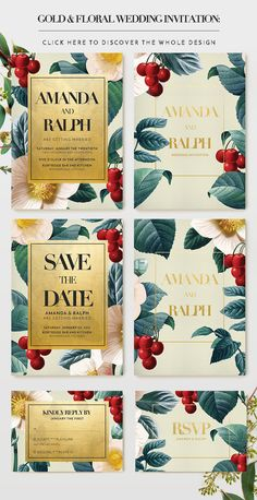 Gold Floral Wedding Invitation: An elegant set of gold and vintage floral illustration especially made for your wedding celebration. There are 2 palettes available: the black palette, and the color palette that has editable background color. Inside the package, you will get: wedding invitation, save the date, and RSVP. They all come with front & back design.