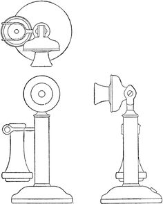 Orthographic Projection of Candlestick Telephone | ClipArt ETC
