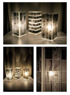 Use old negatives and a little lamp or glass with a candle. very cool.