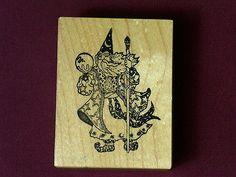 Wizard Holding Crystal Ball Merlin Sorcerer Medieval Used Rubber Stamp | eBay