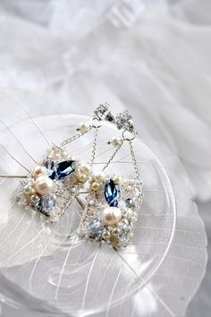 Items similar to Dangle Rectangular earrings Something Blue Pearl Bridal Freshwater Pearl lace earrings embroidered Bridal jewelry Unique Anniversary gift on Etsy Pearl And Lace, Blue Pearl, Embroidery Jewelry, Silk Ribbon Embroidery, Bridal Jewelry, Unique Jewelry, Unique Anniversary Gifts, Lace Earrings, Cubic Zirconia Earrings