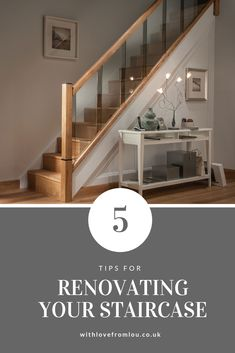 In this post I've shared my top 5 tips for renovating your staircase so the focal point of your home always looks fab. House Staircase, Staircase Design, Staircase Ideas, Stairs In Living Room, Hallway Designs, Hallway Ideas, Stair Storage, Cool Lighting, Home Renovation