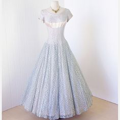ethereal EMMA DOMB aqua lace blush satin and tulle shelf-bust full skirt princess party dress Ball Gown Dresses, I Dress, Party Dress, Prom Dresses, Wedding Dresses, Vintage 1950s Dresses, Vintage Outfits, Vintage Fashion, Vintage Clothing