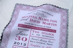 Wedding invitation on handkerchief printed by ArtfulBeginnings, $125.00