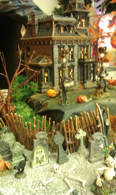"Halloween Village Display / Dept. 56 Halloween Village / Haunted House / Department 56 Snow Village Halloween ""Mordecai Mansion"" /  2012 display from Treasures Unlimited"