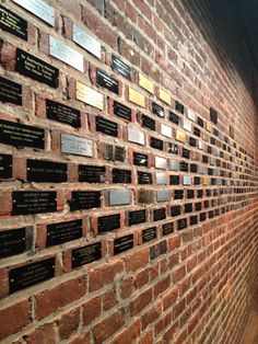 "Engraved plaques of various sizes could be affixed to existing brick on church wall. This is the Virginia Holocaust Museum Donor Recognition ""Angel Wall"" Wall Plaques, Wall Signs, Donor Wall, Outdoor Signage, Wayfinding Signage, Digital Signage, Brick Wall, Bricks, Exhibit"