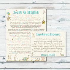 Left Right Baby Shower Game Printable Left Or Right Storybook