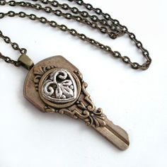 Key to My Heart - Upcycled Key Pendant Necklace Jewelry. via Etsy.