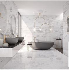 WohnDirWas - planning your dream bathroom correctly, You dream of such bathrooms, don't you? How to plan your own dream bathroom. You can find more ideas, inspiration and tips for your bathroom at www. Modern Master Bathroom, Dream Bathrooms, Modern Marble Bathroom, Mansion Bathrooms, White Bathrooms, Master Bathrooms, Simple Bathroom, Modern Bedroom, Bad Inspiration