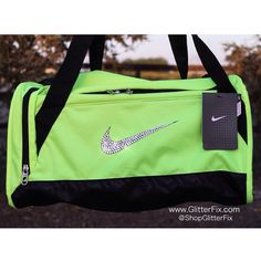 Customized Nike X-small duffel bag in Neon Volt with Swarovski RhinestonesShips in 2-3 weeks