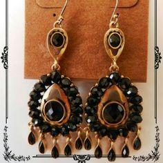 """LUCKY BRAND"" EARRINGS ""LUCKY BRAND"" EARRINGS BLACK STONES CHANDELIER EARRINGS DECORATE THE CENTER AS WELL AS ON THE DANGLE. GOLD-TONE DROP EARRINGS TOTAL OUTSTANDING! !!!   MUST HAVE... Lucky Brand Jewelry Earrings"
