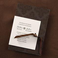 Mocha Elegance Autumn Wedding Invitation idea for fall wedding.