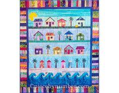 Beach Cottages Quilt Pattern, paper pieced quilt patterns, instant download PDF pattern, house quilt pattern, beach houses quilt on Etsy, $8.50