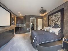 Dramatic gray grey bedroom