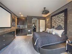 Dramatic gray grey bedroom