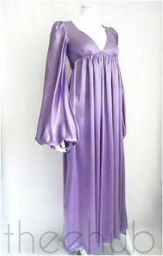 Rare Vtg 60s Biba Exquisite Angelic Sleeves Liquid Satin Sash Dress Maxi Wedding