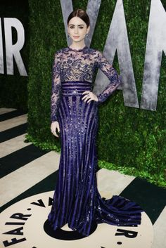 Oscars Lily Collins wears Zuhair Murad Couture to Vanity Fair party. Dresses 2013, Blue Dresses, Lipsy Dresses, Midi Dresses, Spring Dresses, Zuhair Murad, Lily Collins Style, Lily Collins Dress, Marine Uniform