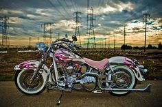 harley davidson pink ice motorcycle!! MAN, I WISH I KNEW HOW TO RIDE!!!!