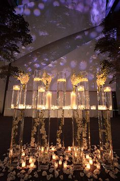 Use lighting to play up key features in your reception space, like your escort card table.