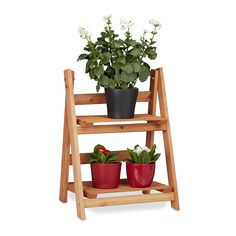 Relaxdays Wooden Flower Display Rack, Indoor Flower Stand, 2-Tier, Plant Stairs, Foldable, HxWxD: 51 x 41 x 25 cm, Brown