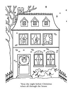 twas the night before christmas coloring pages the night