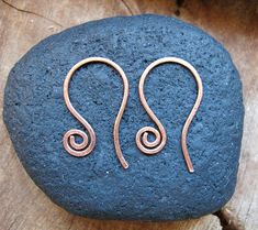 Items similar to Copper Swirl Hoop Ear wires. Hammered Spiral Earwires 18 gauge. Handmade Interchangeable ear wires on Etsy