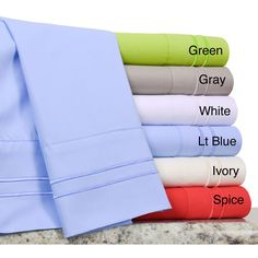 Available in six different vivid solid fashion colors, this percale sheet set is conveniently machine washable. The fitted sheet pocket depth is 12 inches and the sheets include at least one pillowcase.