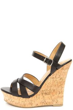 c7314afcd6f My Delicious Serum Black Peep Toe Wedge Sandals